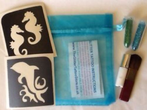 GIRLS DOLPHIN/SEAHORSE GLITTER TATTOO KIT-GLUE/STENCILS/BLUE GREEN GLITTER/BRUSH